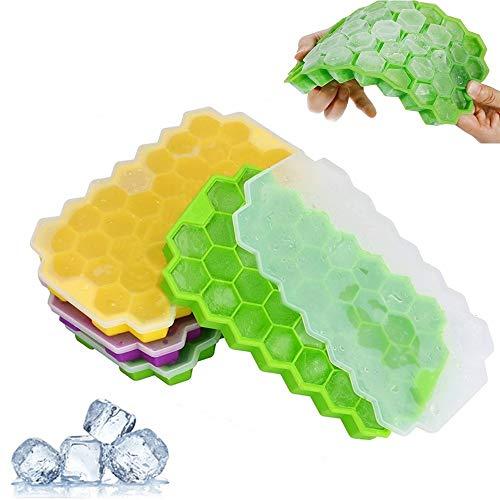 FOXTSPORT - Set di 3 stampi per cubetti di ghiaccio in silicone con coperchio rimovibile, 117 vassoi per ghiaccio in gel di silice flessibile, senza BPA, impilabili, durevoli