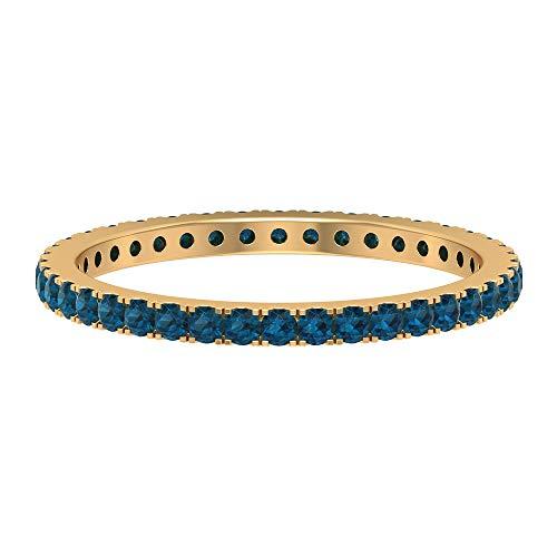 Rosec Jewels 18 quilates oro amarillo redonda Blue