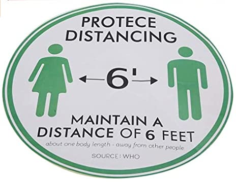 Regalos de abril Calcomanías de calcomanías para pisos Calcomanías de advertencia de distancia para pisos con 5 piezas/bolsa, calcomanía de señal de distancia antideslizante impermeable, para tienda