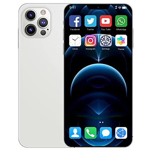 I12ProMax 4G Moviles Libres Barato, 6.7 Pulgadas Smartphone Libre Dual SIM, 4GB RAM+64GB ROM, 24MP+48MP, 5800mAh Teléfono Móvil Baratos y Buenos,Blanco