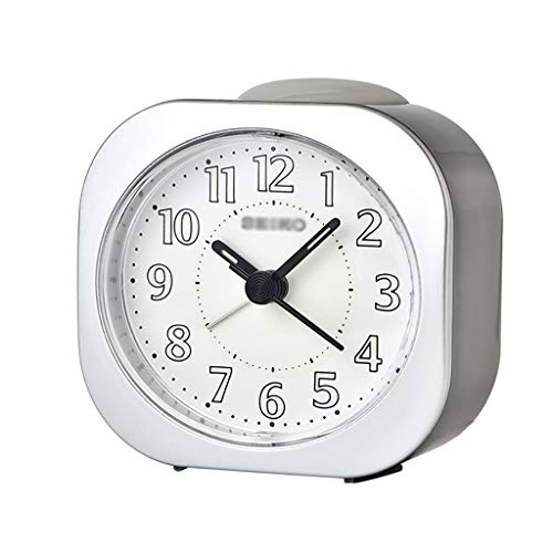 ZRL Despertadores Funciones de Luz de Alarma Analógica Funciones de Plástico Cáscara de Alarma Fuerte Reloj de Alarma Sin Tictac para Niños Alarm Clock (Color : Silver)