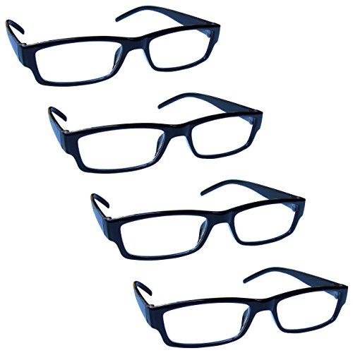 The Reading Glasses Company Die Lesebrille Unternehmen Leicht Komfortables Leser Wert Herren Frauen RRRR32-1 +2, 00, Schwarz, 4 Stück