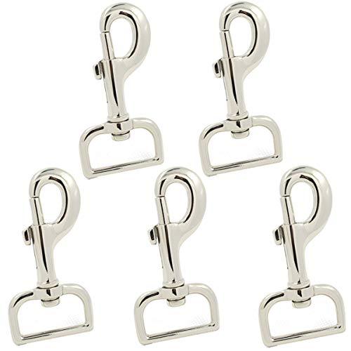 5 piezas de cierre de pinza de langosta giratorio de alta resistencia multiusos gancho a presión - plata