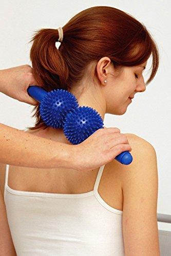 SISSEL Spiky Twin Roller, Reflexzonen Massagegerät für Wirbelsäule und Cellulitebehandlung, blau