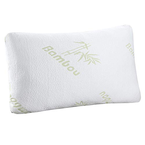 HuiYin Bamboo Shredded Memory Foam Sleep Pillow Combination with Bamboo Fiber Cover Zipper Removable Breathable Cooling Hypoallergenic Pillow Cover, Queen