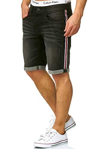 Indicode Herren Fife Jeans Shorts mit 5 Taschen aus 98% Baumwolle | Kurze Denim Stretch Sommer Hose Used Look Washed Destroyed Regular Fit Men Short Pants Freizeithose für Männer Black L