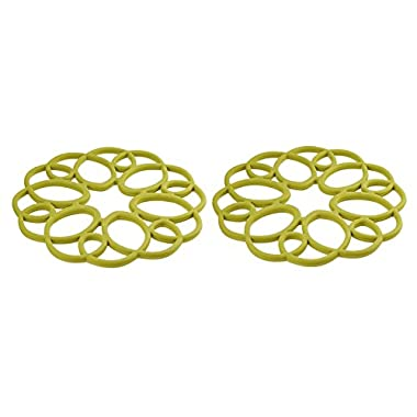 Rachael Ray Silicone Medallion Trivet, non-slip Silicone, Heat Resistant up to 500 degrees F- Celery Green, 2pk