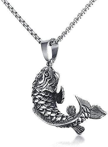 BEISUOSIBYW Co.,Ltd Collar Hombre Colgante 3D pez koi pez Colgante Collar Acero Inoxidable joyería mítica n extraño Cadena Colgante Collar para Mujeres y Hombres