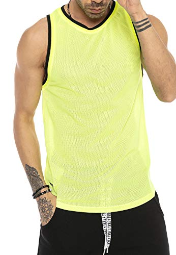 Red Bridge Herren Tank Top Mesh Fresh Air T-Shirt Ärmellos M1839 Gelb S