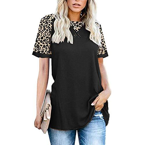 YYH Dames T-shirt Luipaard Print Tops Korte Mouw Crew Neck T Shirt Basic Casual korte mouw Shirt XL Zwart