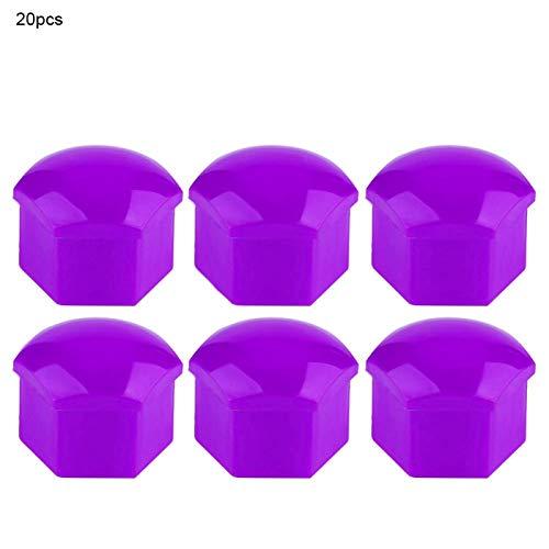 Tuercas de coche resistentes y duraderas fáciles de instalar, 20 tapas de tuercas de rueda de coche, nailon Pa66 de calidad antioxidante para filtro de(purple)