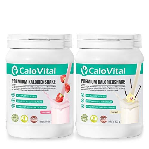 Zunehmen mit CaloVital | Zunehmshake hochdosiert mit vielen Vitaminen | Weight Gainer für schnelle Gewichtszunahme & Masseaufbau |Premium Qualität aus Deutschland (2er Set Vanille - Erdbeere)