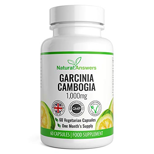 Garcinia Cambogia - 1000MG High Strength Serving - for Men and Women - 60 Capsules - Premium Quality - 1 Month Supply - 100% Money Back Guarantee - 100% Suitable for Vegetarians by Natural Answers