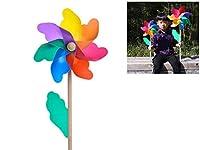 虹プラスチック風車 パーティー風車 涼しい 庭 装飾 DIYキット 手芸 風車 ガーデンヤードパーティキャンプ風車 贈り物 カラフル 直径18cmの木棒の長さ40cm
