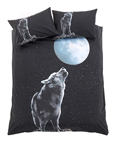eirene threadz Animal Photo Print Duvet Cover with Pillowcase Bedding Set Polycotton (Wolf Moonlight, Single)