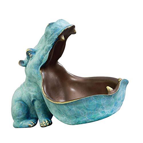 Ardorman Cuenco de Llave de hipopótamo de Boca Grande, estatuilla de hipopótamo de Resina, joyería, Soporte para Almacenamiento de Llaves, Organizador de Dulces de Escritorio