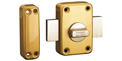 Tesa Assa Abloy, 2110TE4E, Cerrojo de seguridad con llave exterior y boton interior, Latonado