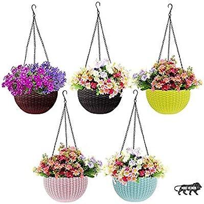 GrowPlanter Multicolor Round Woven Plastic Flower Hanging Planter/Beautiful Round Gamla Pot/Flower Hanging Pot for Garden Balcony (Multicolor, Pack of 5 Pieces )