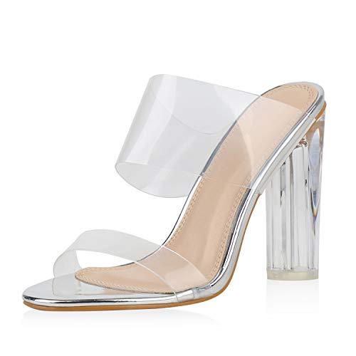 SCARPE VITA Damen Sandaletten High Heels Transparente Party Schuhe Pantoletten Lack Sommer Absatzschuhe 187106 Silber 37