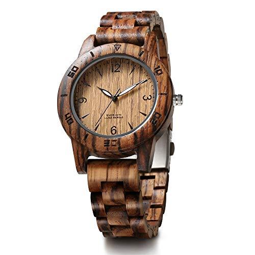 WHQ Hochwertige Weinlese-Sandelholz-Geschäfts-Uhr-Quarz-Holz-Uhr-Dame Holztisch Zebra Holz Uhr, mit leuchtendem, das besten Urlaub Geschenk QD (Color : A)