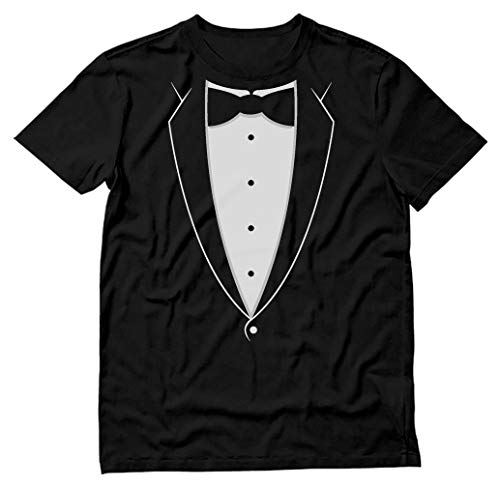 Printed Tuxedo Tshirt with Bow Tie Suit Funny Men Tee Shirt X-Large Black
