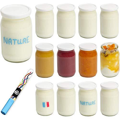 Monboco | Juego de 12 Vasos yogurtera de cristal con tapa hermética | para yogurtera y robot de cocina (thermomix, etc) | Fabricación francesa | 177 ML / 155G | Un bolígrafo borrable de cortesía