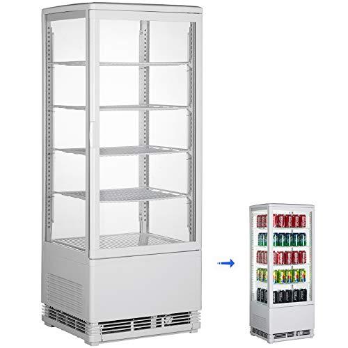 VBENLEM 3.5 cu. ft. Commercial Countertop Display Refrigerator,98L Beverage Display Cooler,with LED Lighting White Freestanding Display Fridge,Adjustable Shelves,for Supermarket Bar Office,32℉-53.6℉