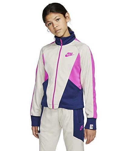 Nike Mädchen NSW Heritage Full Zip Jacke, Lt Orewood BRN/Blue Void/Fire, M