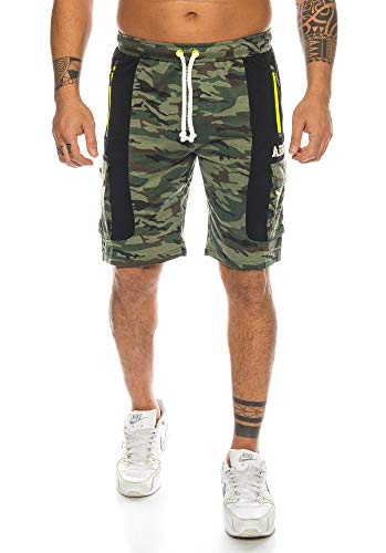 Raff&Taff Herren Sportwear Sporthose Cannabis Joggingshose Camouflage Bundeswehr Short Tarnhose Cargohose Biker Bermuda T (3XL, Woodland(1049))