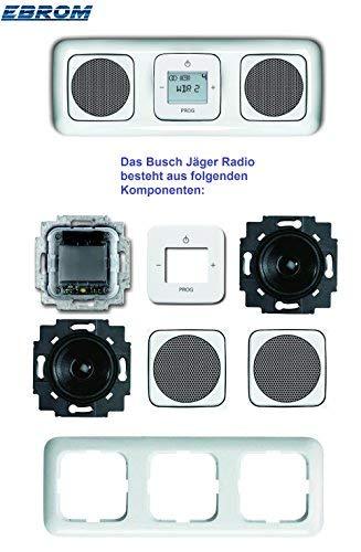 Busch Jäger Unterputz UP Digitalradio 8215 U (8215U) Komplett-Set Reflex SI alpinweiß mit 2 x Lautsprecher in 3 fach Rahmen integriert inkl. Abdeckungen