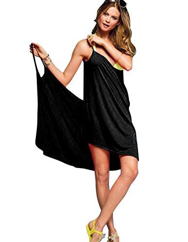 Minetom Damen Sommer Sexy Ärmelloses Wickelkleid Tiefer V-Halsausschnitt Stretch Kleid Strand Bikini Kittel Rückenfrei Strandkleid Schwarz One Size