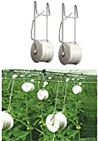 JNDJNFV 50Pcs Tomato Trellis Rollerhook, Tomato Support Hooks, with 49.2ft Twine, for Plant, Greenhouse,Flower Vine Crop Trellis Kit, 25 Plant Roller Hook