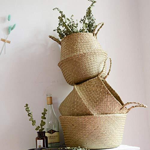 FICI rieten zeegras opslag mand stro mand schrijven mand opbergtas wit tuin bloempot plantenbak handgemaakte