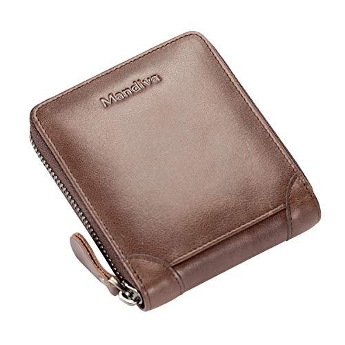 Mandiva 財布 カードケース 本革 メンズ 小銭入れ コンパクト 横型ラウンドファスナー (ブラウン)