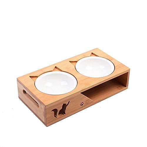 DjfLight Houten mok voor huisdieren, twee schalen van bamboe-keramiek voor voer en drinkraan voor huisdieren, in combinatie met bamboe frame voor honden en katten, S