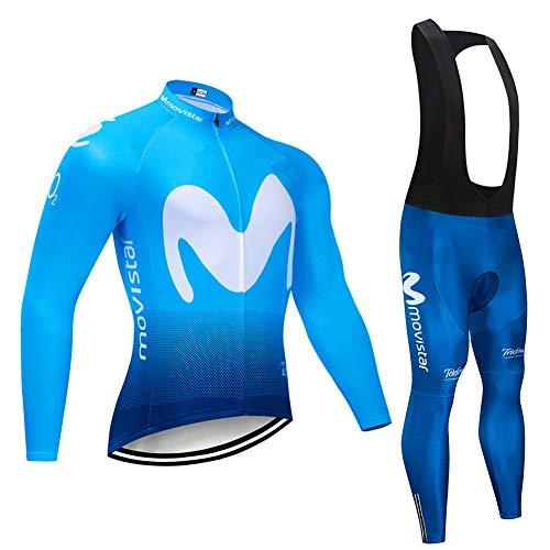 Herren Radfahren Kleidung Einstellen Atmungsaktiv Lange Ärmel Movistar Radfahren Jersey Mantel Jacke mit 3D Gepolstert Hose Schnelltrocknend,b,XL