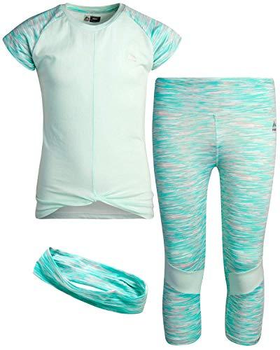 RBX Girls' Activewear Set - Short Sleeve Performance T-Shirt and Yoga Pants Leggings Set with Headband, Size 4, Mint