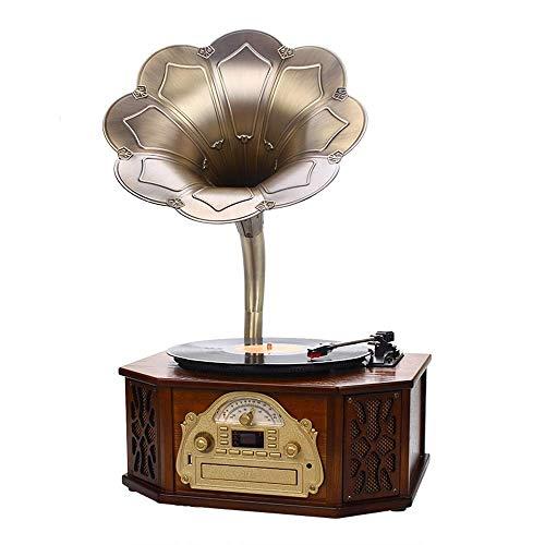 Big Shark Phonograaf FM-radio voor thuis, grote hoorn, phonograaf platenspeler, bluetooth-recorder-radio, retro vinylstijl, ingebouwde luidspreker en afstandsbediening record player, woonkamer audio