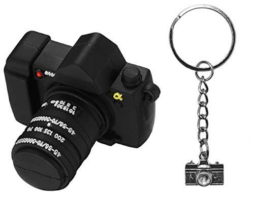Lynneo USB-Stick, USB 2.0, Kamera, Schwarz, 128 GB, mit einem Schlüsselanhänger, Fotoapparat, Metall, Modeschmuck, Anhänger