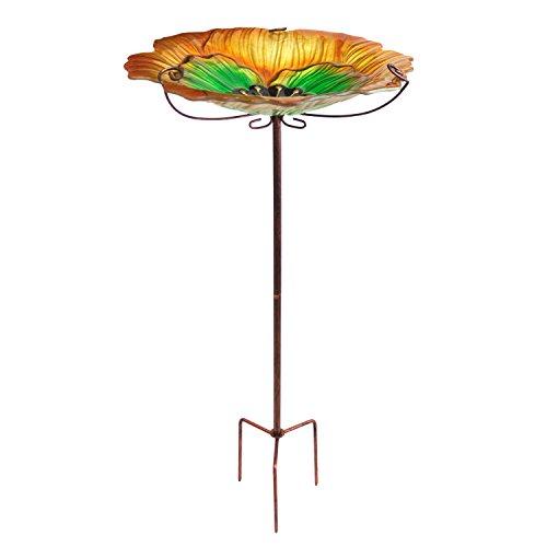 Multistore 2002 Vogelbad, Glas, inkl. Erdspieß, 31x31x63cm - Vogeltränke Gartendekoration, Farbe:Orange