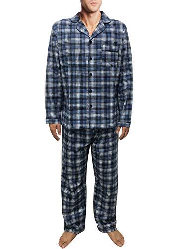 Hanlolo Men's Pajama Set Long Sleeve Cotton Button-Down Pj Plaid Loungewear Sleepwear