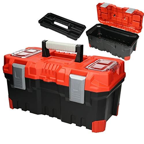 ECD Germany Werkzeugkasten Werkzeugkiste mit 2 Fächer - 50x25x24 cm - leer - aus Kunststoff - bis 19kg - für Heim- und Handwerker - Werkzeugbox Werkzeugkoffer Sortimentskoffer Montage Koffer Kasten