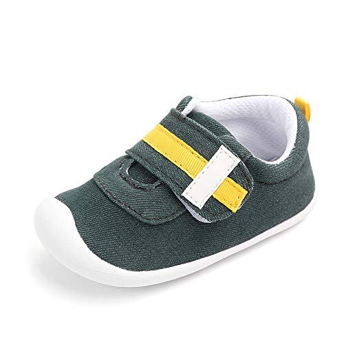 Kuner Baby Boys and Girls Cotton Rubber Sloe Outdoor Sneaker First Walkers Shoes (13.5cm(15-18months), Dark Green)