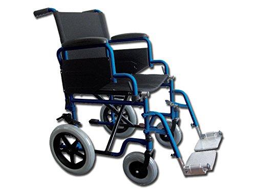 GIMA IDM161 Carrozzina Essex, Sedia a Rotelle per Anziani e Disabili, Tessuto Nero, Telaio Blu, Seduta 46cm