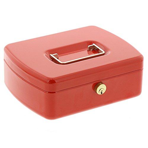 Burg-Wächter 2207 Geldkassette Office-Line, Rot, Inkl. 2 Schlüssel und Hartgeldeinsatz