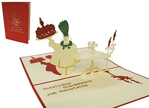 LIN17238, POP UP Karte Geburtstag, 3D Grußkarten Chefkoch mit Torte Herzlichen Glückwunsch N12
