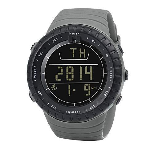 Herrenuhr LED Sportuhr Leder Quarz Analog Digital Business Armbanduhren Geschenk 2711Grau
