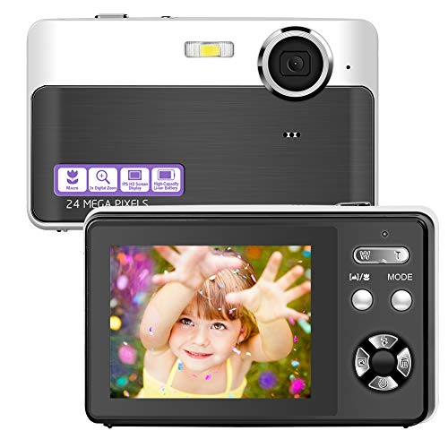 Digital Camera Vlogging Camera 24 Megapixels Mini Digital Camera 24 Inch Screen Camera with Digital Zoom Macro Compact Cameras for Adult Kids Beginners