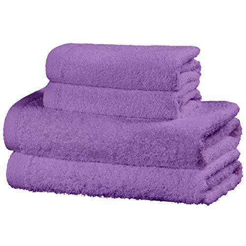 Viste tu hogar Juego de 4 Toallas Hechas 100% de Algodón, Incluye 2 Toallas de Baño y 2 de Manos, Suaves y Absorbentes, Ideales para Uso Diario y Decoración, en Color Púrpura.