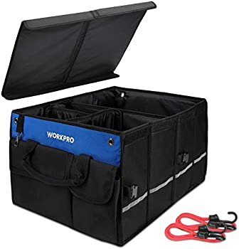 Workpro Car Trunk 4-Compartment Organizer Collapsible Storage with Lid